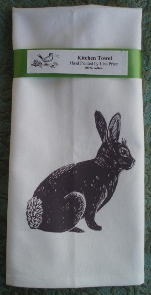 bunny block print towel